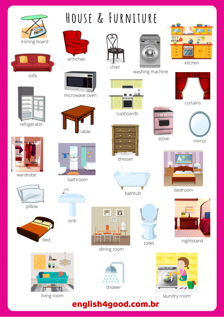 Home Furniture Flashcards English4good Vocabulary Practice